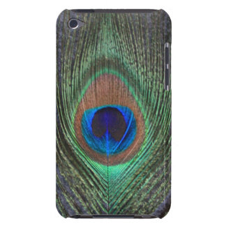 Peacock Feather on Grey iPod Barely There Case