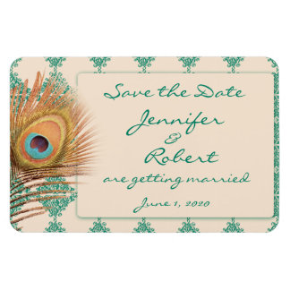 Peacock Feather on Teal Moroccan Tile Save the Dat Rectangular Photo Magnet