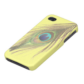 Peacock Feather on Yellow iPhone 4/4S Cases