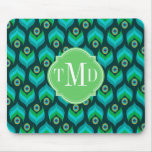 Peacock Feather Pattern Monogram Personalised Mouse Pad