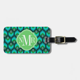 Peacock Feather Pattern Monogram Personalized Luggage Tag