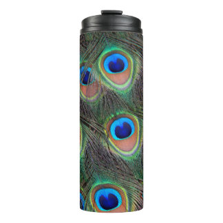 Peacock Feather Pattern Thermal Tumbler