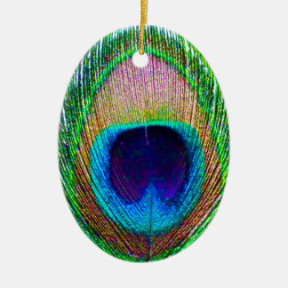 Peacock Feather Photo Christmas Ornament