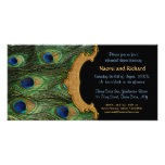 Peacock Feather Rehearsal Dinner Invitation Photo Card Template
