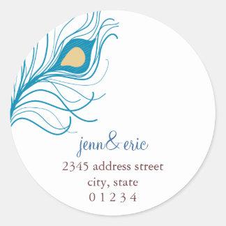 Peacock Feather Return Address Wedding labels Round Sticker