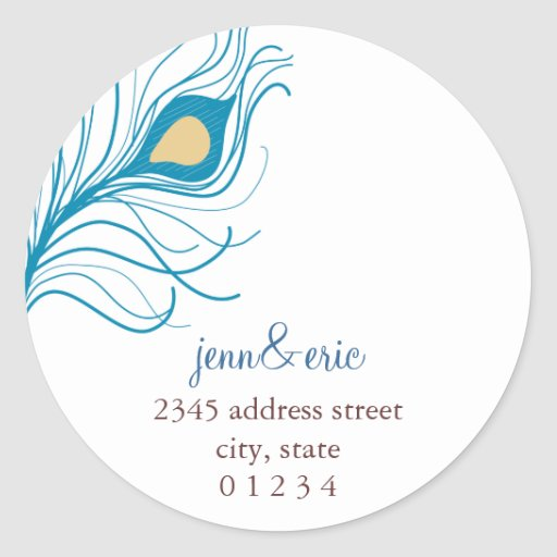 Peacock Feather Return Address Wedding labels Round Sticker