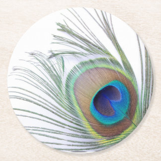 Peacock Feather Round Paper Coaster
