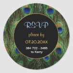 Peacock Feather RSVP Wedding Seal - Customise Round Sticker
