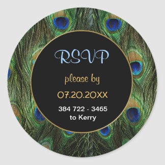 Peacock Feather RSVP Wedding Seal - Customize Round Sticker