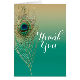 Peacock Feather Sand and Teal Boho Glam Thank You Card