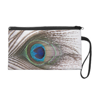 Peacock Feather Satin Clutch Bag Wristlet