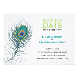 Peacock Feather Save the Date 5x7 Paper Invitation Card