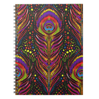 peacock feather spiral notebook hot magenta
