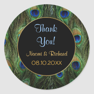 Peacock Feather -Thank You Seal - Customize Round Sticker