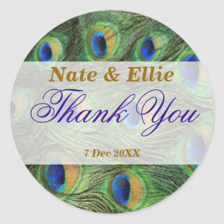 Peacock Feather Thank You Wedding Stickers