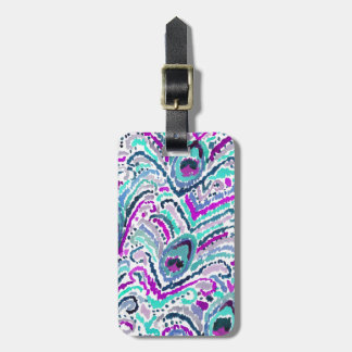 Peacock Feather Watercolor Boho Tribal Luggage Tag