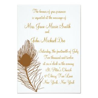 Peacock Feather Wedding Invitation - Rust