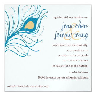 Peacock Feather Wedding invite