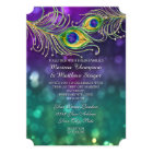 Peacock Feather Wedding Jewelled Feathers Bokeh Card