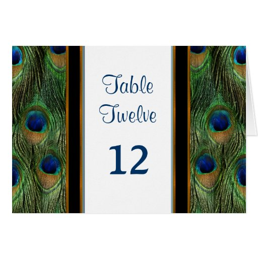 Peacock Feather Wedding - Table Seating Number Card