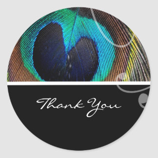 Peacock Feather Wedding Thank You Stickers