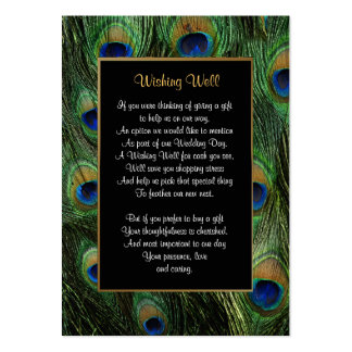 Peacock Feather Wedding - Wishing Well Business Card Template