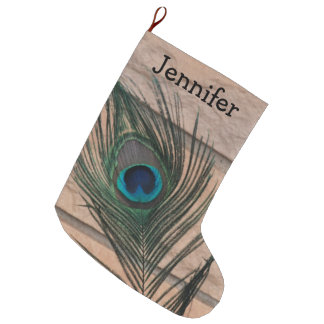 Peacock Feather with Brick Large Christmas Stocking