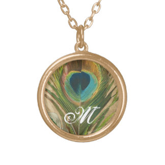 Peacock Feather with Monogram Gold Plated Necklace