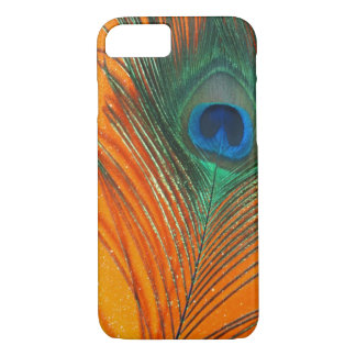 Peacock feather with Orange Glitter Still Life iPhone 7 Case
