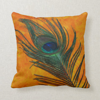 Peacock Feather with Orange Throw Pillow