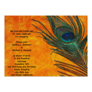 Peacock Feather with Orange Wedding 14 Cm X 19 Cm Invitation Card