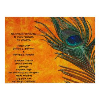 Peacock Feather with Orange Wedding 14 Cm X 19 Cm Invitation Card