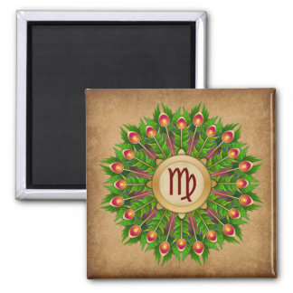 Peacock Feather Wreath Zodiac Sign Virgo Square Magnet