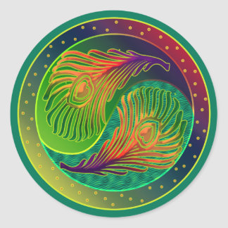 Peacock Feather Yin Yang 3 Classic Round Sticker