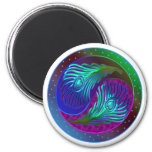 Peacock Feather Yin Yang 5 6 Cm Round Magnet