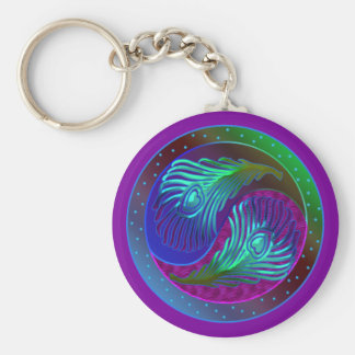 Peacock Feather Yin Yang 5 Basic Round Button Key Ring