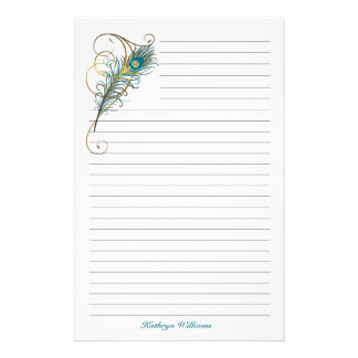 Peacock Feathered Lined Stationery