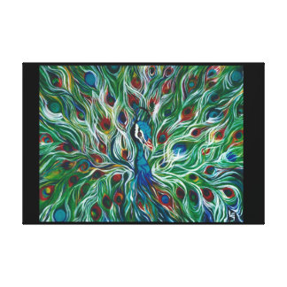 """Peacock Feathers 36"""" x 24"""" Premium Canvass Print"""