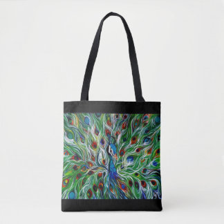 Peacock Feathers All-Over-Print Tote Bag