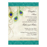 Peacock Feathers Aqua Damask Quinceanera Party 13 Cm X 18 Cm Invitation Card