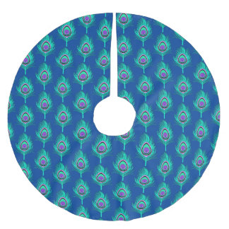 Peacock Feathers, Aqua on Deep Cobalt Blue Brushed Polyester Tree Skirt