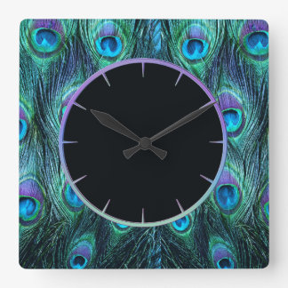Peacock Feathers Aqua Square Wall Clock