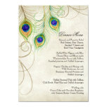 Peacock Feathers Black Damask Wedding Stationery 11 Cm X 16 Cm Invitation Card