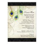 Peacock Feathers Black Damask Wedding Stationery 13 Cm X 18 Cm Invitation Card