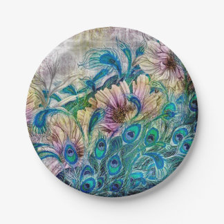 Peacock Feathers Blue Garden Paper Plate