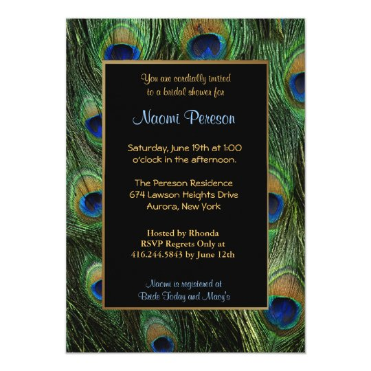 Peacock Feathers - Bridal Shower Card