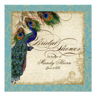 Peacock Feathers Bridal Shower Invite Aqua Blue