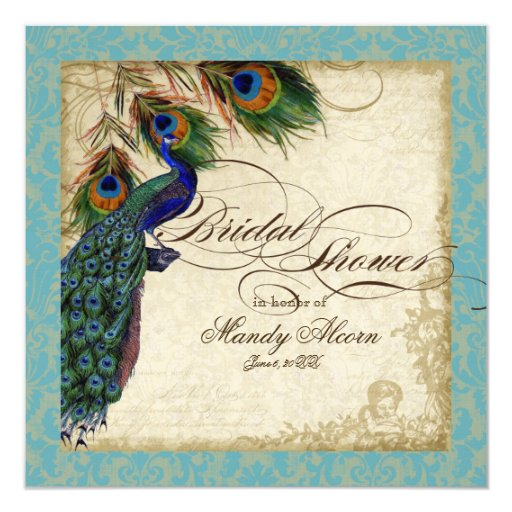 Peacock & Feathers Bridal Shower Invite Aqua Blue 13 Cm X 13 Cm Square Invitation Card