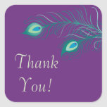 Peacock Feathers Bridal Shower Square Sticker