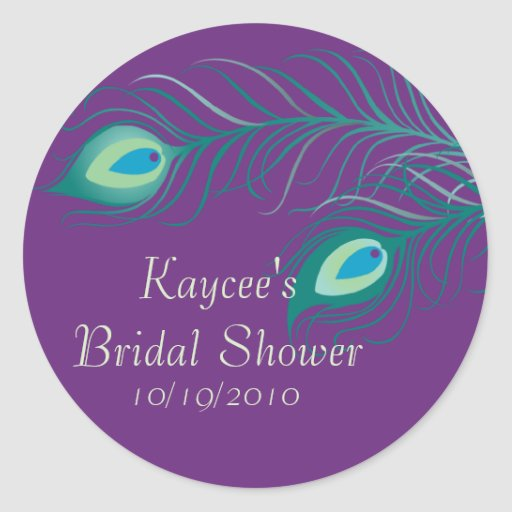 Peacock Feathers Bridal Shower Sticker